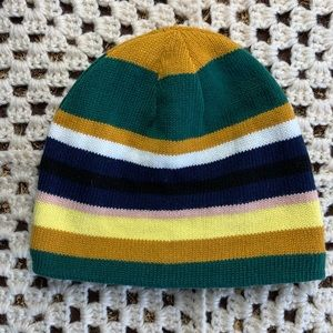 F21 striped beanie mustard forest green navy lined
